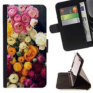 Momo Phone Case / Flip Funda de Cuero Case Cover - Ramo de Rosas Rosa Amarillo - Samsung Galaxy J3 GSM-J300
