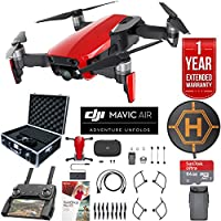 DJI Mavic Air Drone Combo with Remote Controller Extended Fly Bundle with Hard Case , Dual Battery , Landing Pad , Corel Photo Pro , 64GB High Speed Card and 1 Year Warranty Extension (Flame Red)