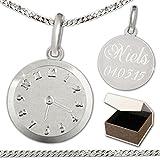 CLEVER SCHMUCK-GRAVUR-SET Silberner Anhänger 'Geburts-Uhr matt und glänzend' mit wählbarer Kette,...