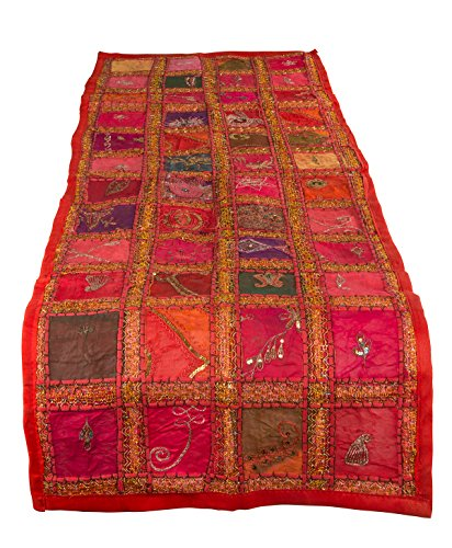 Tribe Azure Fair Trade Red Table Runner 100% Cotton 18