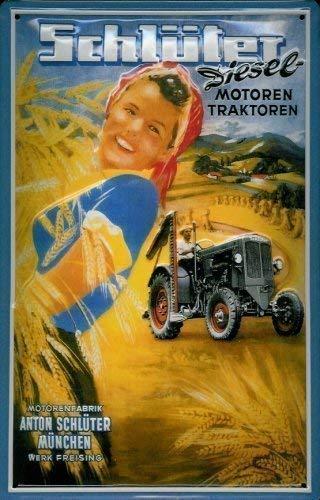 Schl/üter moteurs diesel et tracteurs rahmenlos plaque en t/ôle signe de tin en m/étal de 20 x 30 cm