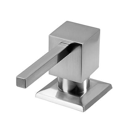 Cuadrado Dispensador de jabón es acero inoxidable 304, Fregadero de cocina con dispensador de lavavajillas