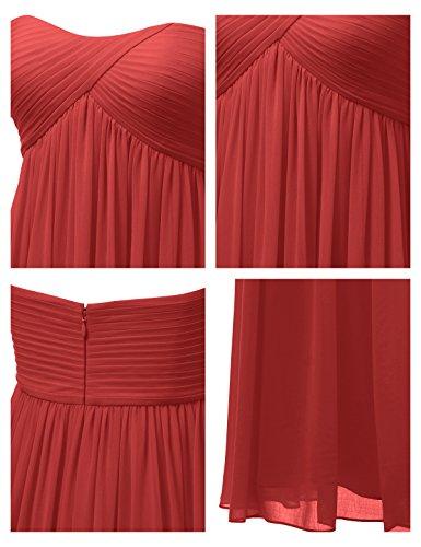 Alicepub Longue Maxi Robe De Soirée De Fête En Mousseline De Soie Robe De Demoiselle D'honneur Robe De Bal Empire Rouge