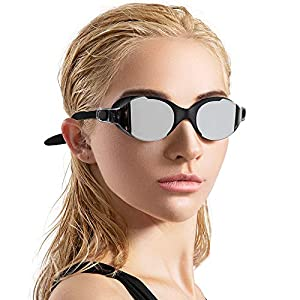 COPOZZ Upgraded Seal Swim Goggles, 3916 Shatterproof Swimming Reflective Mirror/Clear Anti Fog UV Protection Water…
