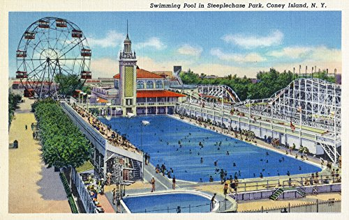 (Coney Island, New York - Steeplechase Park Swimming Pool View (16x24 SIGNED Print Master Giclee Print w/Certificate of Authenticity - Wall Decor Travel Poster))