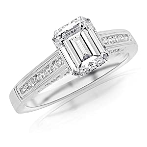 0.7 Ctw 14K White Gold GIA Certified Emerald Cut Channel Set Round Diamond Engagement Ring, 0.5 Ct D E VS1 VS2 Center