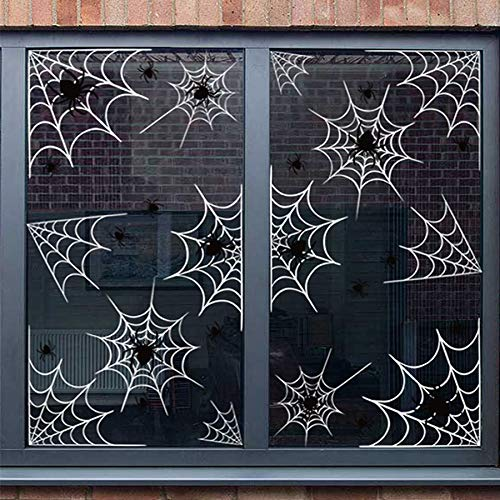 56+ Halloween Spiders and Webs Vinyl Window Clings Decorations - White web Black spiders Party Stickers Ornaments -
