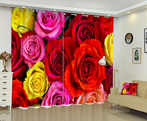 Newrara 3D Bright Colored Red Pink and Yellow Roses Printed 2 Panels Blackout Curtain For Living Room&Bedroom,Free Hook Included (104W95