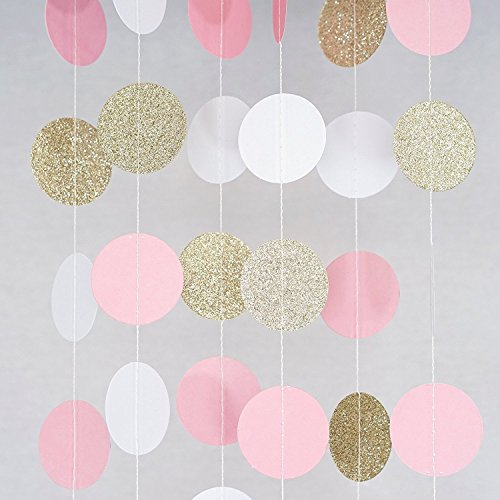 2-Sets-of-BCopter-65-Ft-Circle-Dots-Paper-Garland-Backdrop-Hanging-Dcor-Pink-Cream-Glitter-Gold-Party-Decoration