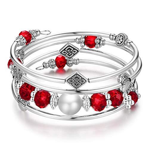 Wrap Bangle Layered Crystal Bracelet - Fashion Jewelry Bead Bracelet Gifts for Women Girls (09-Red)