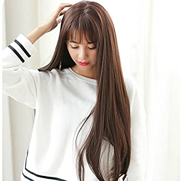 d554c4956a5 Amazon.com: Korean girls fake hair daily air sweet round face bangs ...