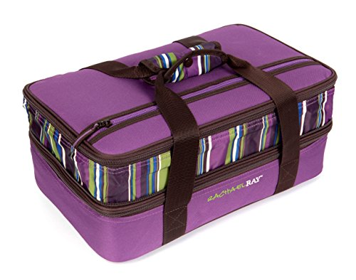 (Rachael Ray Expandable Lasagna Lugger, Double Casserole Carrier for Potluck Parties, Picnics, Tailgates - Fits two 9