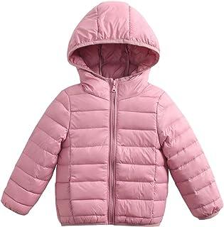 Bambino Piumino con Cappuccio Inverno Giacche di piuma Leggero Giubbotti Cappotto Blu 1-2 anni