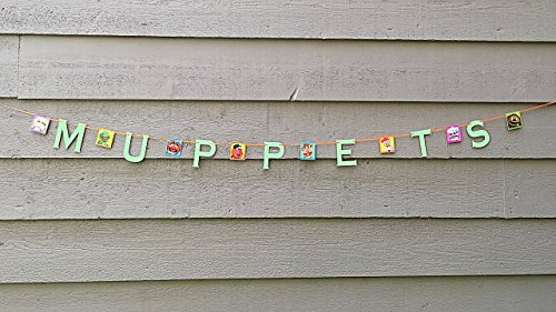 - Muppets Banner Garland, Glitter Sign Decoration, Kermit Fozzie Miss Piggy