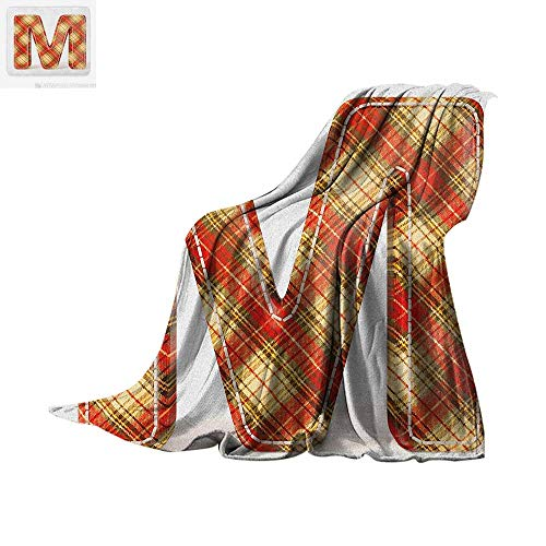 Letter M Throw Blanket Colorful Capital Letter Fabric Theme Stitch Marks Image Print Print Artwork Image 60