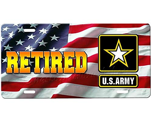 Army Retired Customized License Plate Frame Aluminum, Decorative Front Car Tag Sign with 4 Holes, Vanity Tag 6