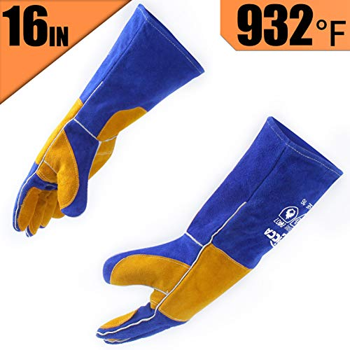Welder Mig Tig Glove (RAPICCA Leather Forge Welding Gloves Heat/Fire Resistant, Mitts for Oven/Grill/Fireplace/Furnace/Stove/Pot Holder/Tig Welder/Mig/BBQ/Animal handling glove with 16 inches Extra Long Sleeve – Blue)