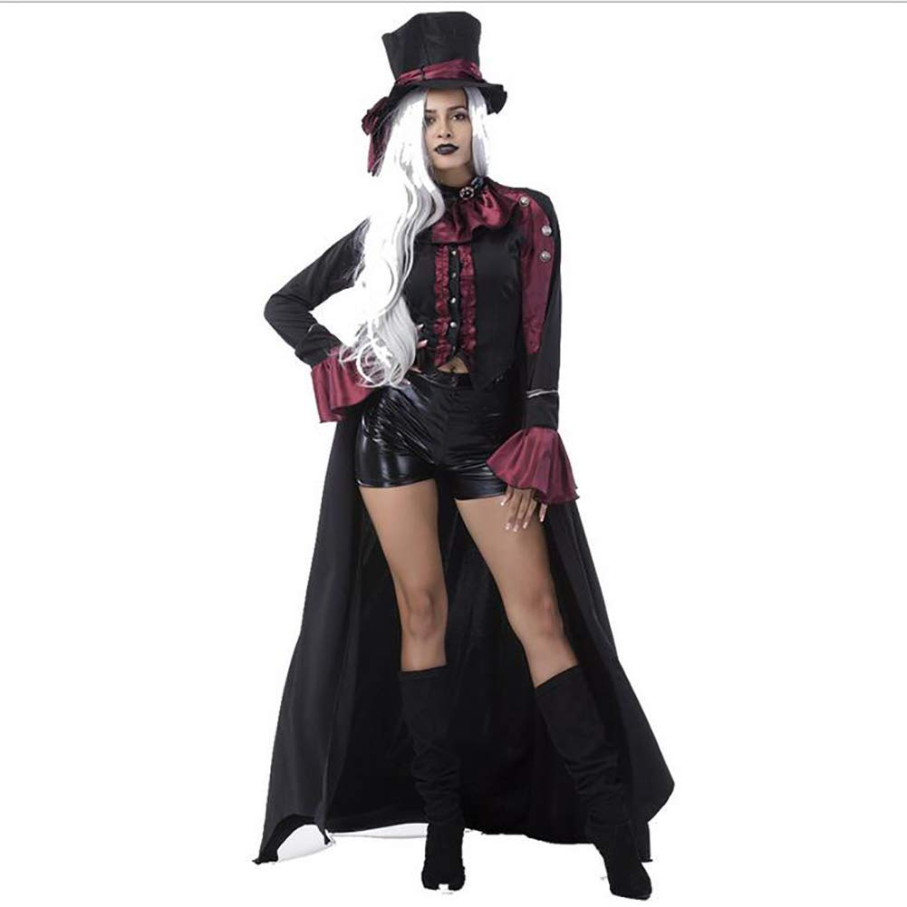 FuweiEncore Erwachsene Vampir Kostüme Frauen Männer Halloween Party Vampir Vampir Vampir Paar Cosplay Ausgefallenes Outfit Bekleidung Kleider,Damens,L (Farbe : Damens, Größe : Medium) 24b7b5
