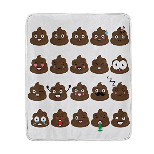 Cooper girl Cute Poop Emoji Throw Blanket Soft Warm Bed Couc