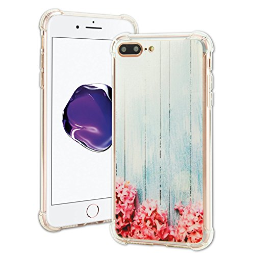 TOP CASE - Shock Absorption TPU Bumper Cushion Rubber Gel Protective Cases Compatible with Apple iPhone 7 Plus 2016 / iPhone 8 Plus 2017 - Pink Hyacinth Turquoise Wooden