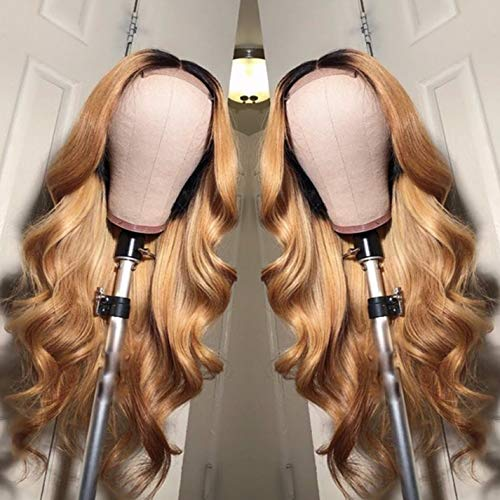 Ombre Brazilain Hair Body Wave Wig Two Tone 1B/27 Soft Hair 13x6 Lace Frontal Wigs with Baby Hair For Woman (16inch, 13x6 Lace Front Wig)