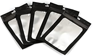 50PCS MYLAR Smell Proof Bags Ziplock Aluminium Foil Food Storage Flat Bag Pouch Waterproof Reusable Black Back Hang with Clear Window for Food Storage Self Sealing Supplies (4.7