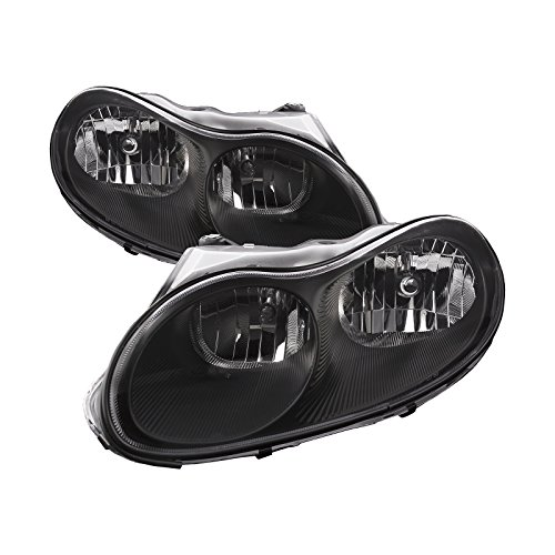 PERDE Black Housing Halogen Headlights Compatible with Chrysler Concorde LHS Includes Left Driver and Right Passenger Side Headlamps