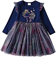 DXTON Little Girl Kid Winter Long Sleeve Tutu Party Princess Dresses for 2-8 Years