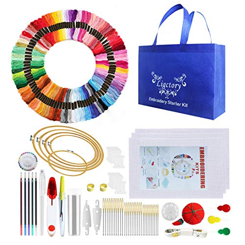 Embroidery Starter Kit Cross Stitch Tools for Adults and Kids Beginners 5 PCS Bamboo Embroidery Hoops 3 PCS Cross Stitch Fabric100 Colours Embroidery Threads and Tool