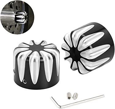 Black Front Axle Nut Covers Caps Compatible for Harley Softail Touring Electra Road Street Glide Sportster 2008-2020