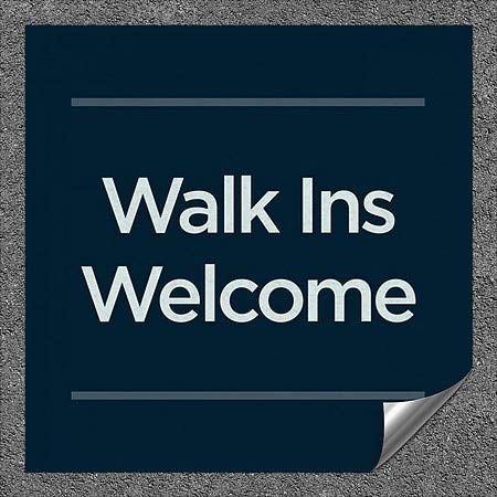 CGSignLab |''Walk Ins Welcome -Basic Navy'' Heavy-Duty Industrial Self-Adhesive Aluminum Wall Decal (5-Pack) | 36''x36''
