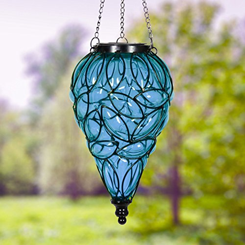 Exhart Blue Solar Lantern - Glass Tear-Shaped Hanging Lantern - Teardrop Glass Ceiling Lantern Hangs in a Metal Cage w/ 12 Blue LED Firefly Solar Lights 7'' L x 7'' W x 24'' H by Exhart (Image #1)