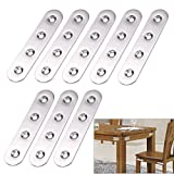 Sumnacon Stainless Steel Flat Plate, Heavy Duty Mending Plate Straight Corner Brace Brackets Connector Furniture Repair Fixing Joint With Screws(4 Inch, Brushed)