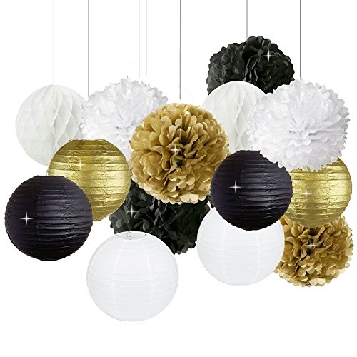(New Years Decorations Gold Black White Party Decor Kit Tissue Paper Pom Poms Flower Paper Lantern Paper Honeycomb Balls Party Hanging Decoration Favor for New Year's Eve Party /Birthday Decorations )