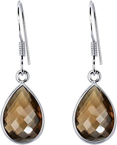 Natural SMOKY QUARTZ Gemstone 925 Sterling Silver Girl/'s Pretty Earrings