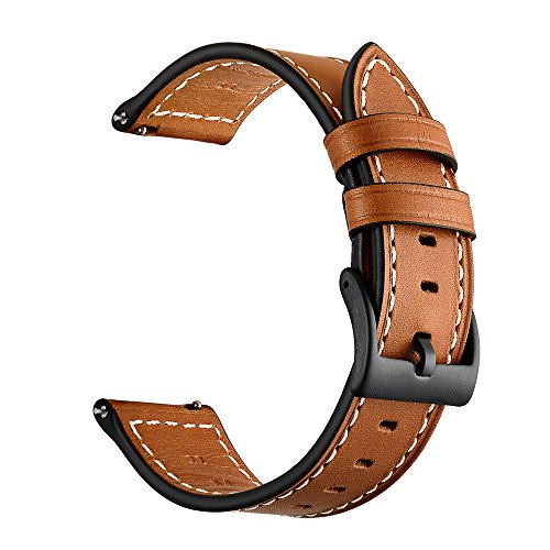 Aimtel Compatible Galaxy Watch 46mm/Ticwatch Pro Band,22mm Genuine Leather Replacement Band Ticwatch Pro/Samsung Gear S3 Frontier / S3 Classic/Galaxy Watch 46mm (Brown)
