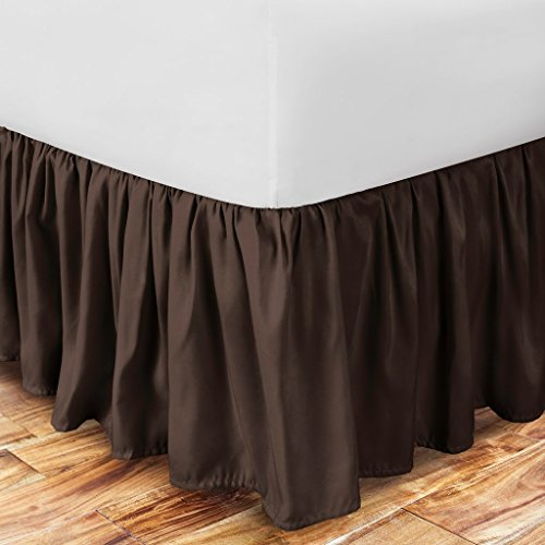 Brown Ruffle - Zen Home Luxury Ruffled Bed Skirt - 1500 Series Luxury Brushed Microfiber w/Bamboo Blend Treatment - Eco-friendly, Hypoallergenic Dust Ruffle w/15 Drop - Queen - Brown