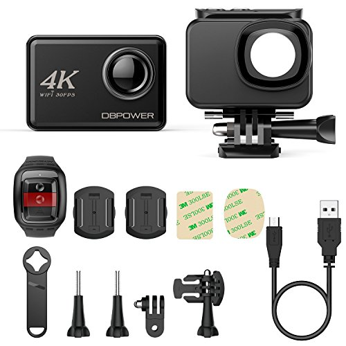 "51vYpHF2VCL - DBPOWER D5 Native 4K EIS Action Camera 2"" LCD Touchscreen 14MP WiFi Waterproof Sports Camera with 4K 30fps Video and 170° Wide-Angle Lens 2.4GHz Remote Control 2 Pcs Rechargeable Batteries"