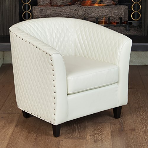 Marion Quilted Ivory Leather Tub/Barrel Design Chair w/ Chrome Nailhead Accents
