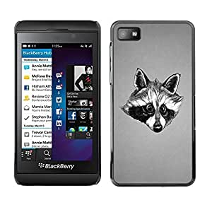 GagaDesign Phone Accessories: Hard Case Cover for Blackberry Z10 - Black & White Friendly Raccoon by Maris's Diary