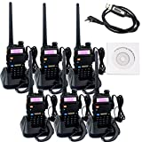 Retevis RT-5R 2 Way Radio 5W 128CH UHF/VHF 400-520MHz/136-174MHZ Ham Amateur Radio (6 Pack) and Programming Cable