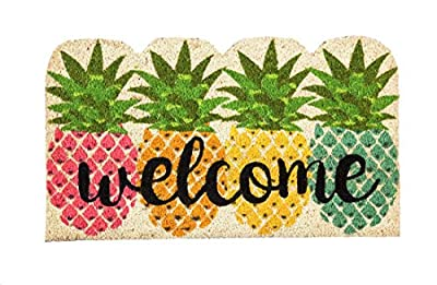 Evergreen Flag 2RM417 Colorful Pineapples Shaped Coir Mat, Multi