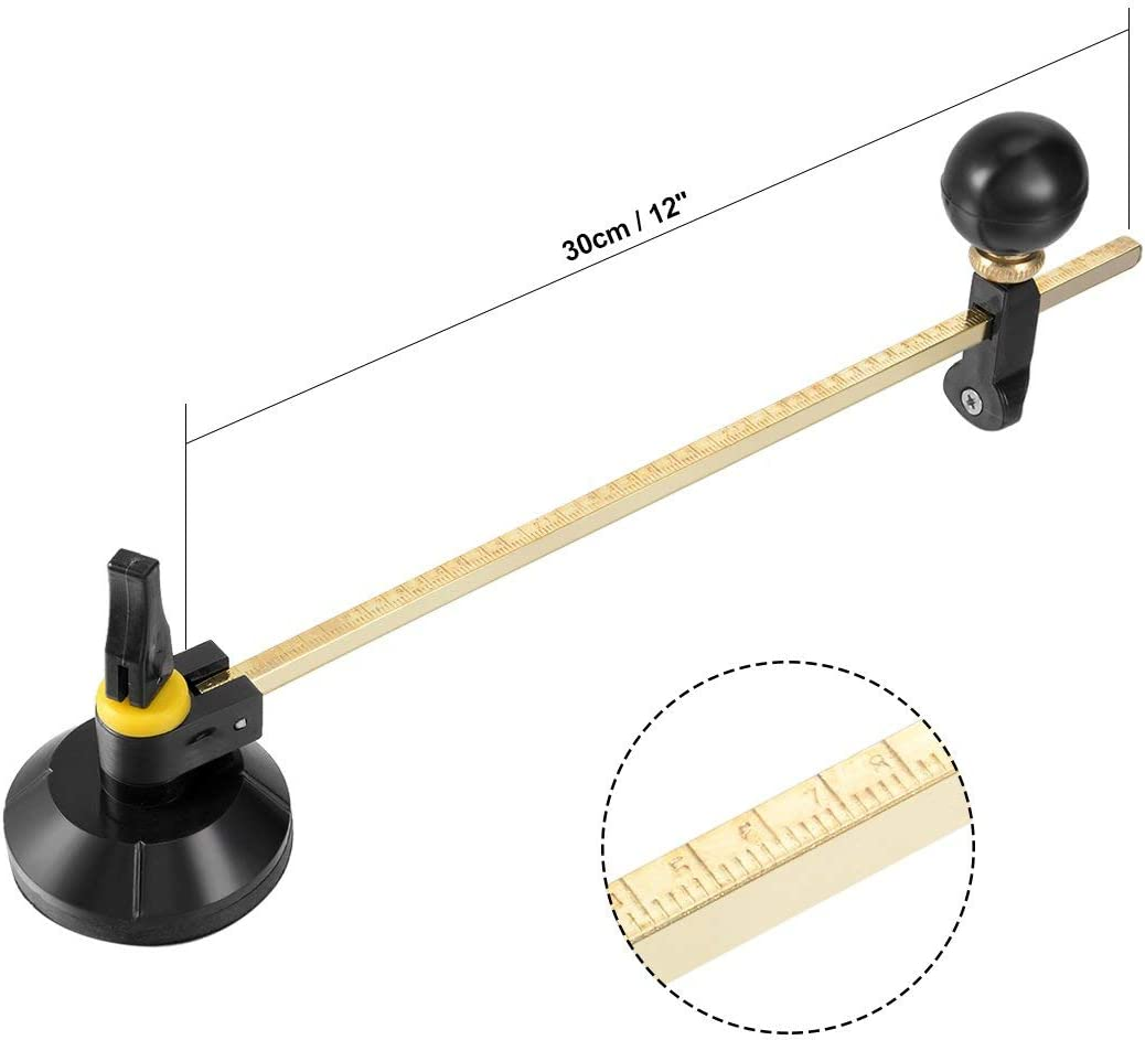 a18022800ux0016 Sourcingmap Verstellbarer Zirkel aus Glas Kreisschneider mit Saugnapf