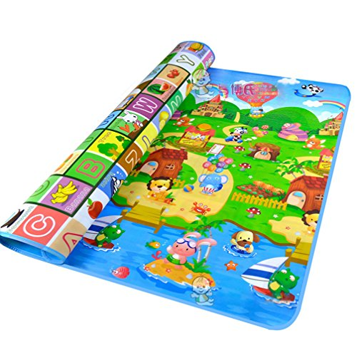 StillCool Baby Crawling Play Mat Kids Childrens Baby Toddlers Floor Game PlayMat 200x180x0.5cm Thickness (Large, Happy Farm) - Kid Baby Playmat