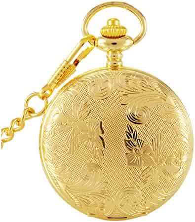 SwitchMe Vintage Carved Quartz Pocket Watch Japan Movement with Belt Clip Chain Gold