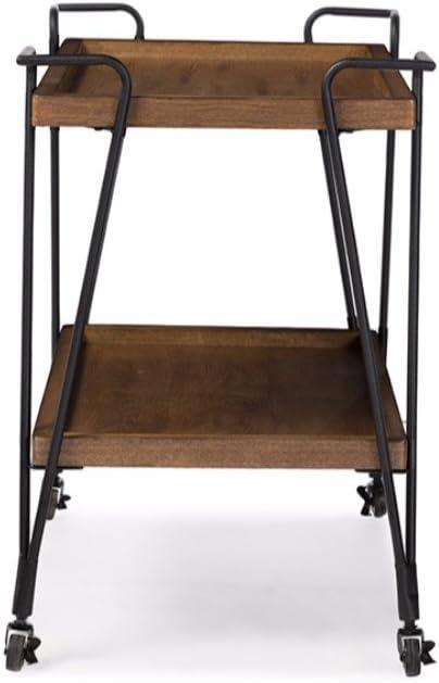 Benjara Industrial Style Ash Wood Mobile Serving Bar Cart Black and Brown
