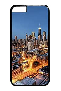 For Ipod Touch 4 Case Cover -Chicago City Skyscrapers Polycarbonate Hard Case Back For Ipod Touch 4 Case Cover Black