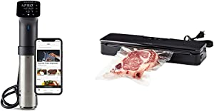 Anova Culinary | Sous Vide Precision Cooker Pro (WiFi) | 1200 Watts | All Metal | Anova App & ANVS01-US00 Anova Precision Vacuum Sealer, Includes 10 Precut Bags, For Sous Vide and Food Storage