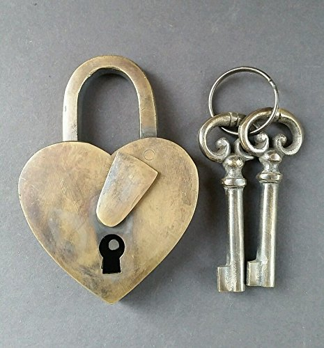 Vintage Love Heart Forever PADLOCK SKELETON Keys Brass Antique Lock 3 3/4