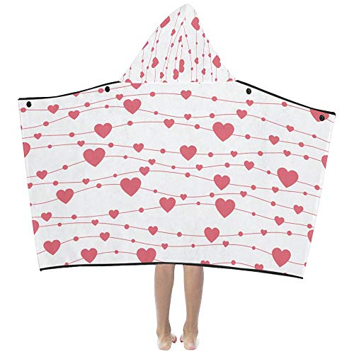 Love Shape Heart Soft Warm Cotton Blended Kids Dress Up Hooded Wearable Blanket Bath Towels Throw Wrap for Toddlers Child Girl Boy Size Home Travel Picnic Sleep Gift (6042 Bathtub)